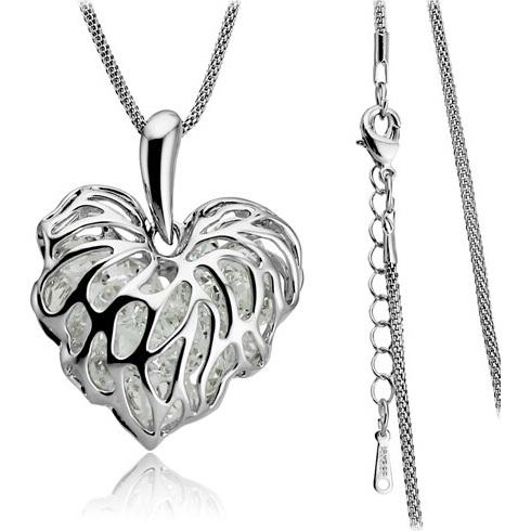Colier Zircon Heart - Argintiu KP989